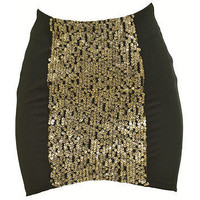 Lush Ls30070S05 Mini An With Panel Of Sequins Womens Skirts Black Size S ~