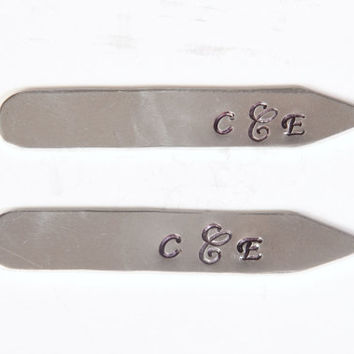 Silver Monogrammed Collar Stays - Initial Collar Stays, Cursive, Monogram, Gifts for Men, Personalized Father's Day Gifts