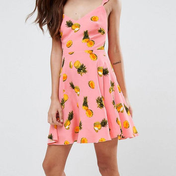 Pink Pineapple Print Ruffle Strap Tie Back Skater Dress