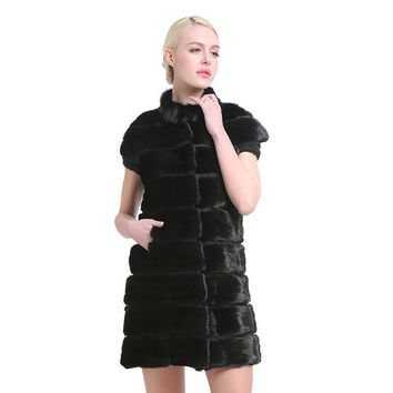 Fashion Slim jacket mink vest  Real Mink Fur Long Women Winter Fur Vest High Quality Mink Fur Coat for women