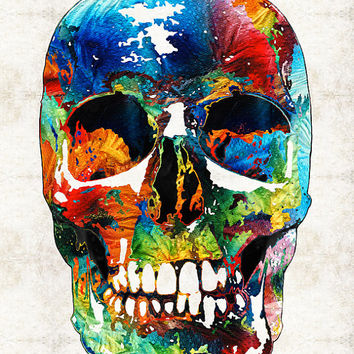 Colorful Candy Skull Art  PRINT from Painting Day Of The Dead Horror Primary Colors CANVAS Ready Hang Large Artwork Pirate Skulls Teeth Face