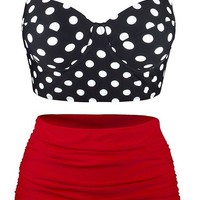 ONETOW Angerella Women Vintage Polka Dot High Waisted Bathing Suits Bikini