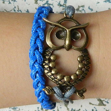 Alloy  Owl  The embodiment of wisdom  blue Adjustable Braided Bracelet
