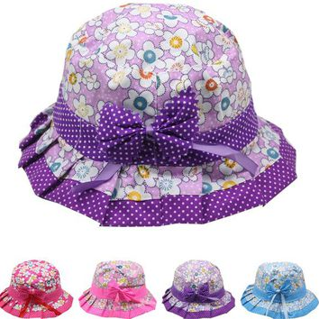 Children's Floral-Dot Bucket Summer Hat with Bow - CASE OF 72