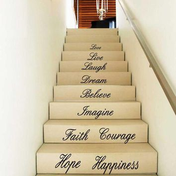Live Love Hope Laugh Quote Decal Removable Stair Vinyl Wall Stickers Decor