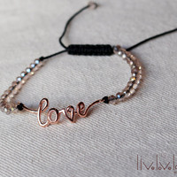Rose Gold Love bracelet, cursive love and clear faceted beads adjustable string bracelet, pull string, stackable, onyx, christmas gift ideas