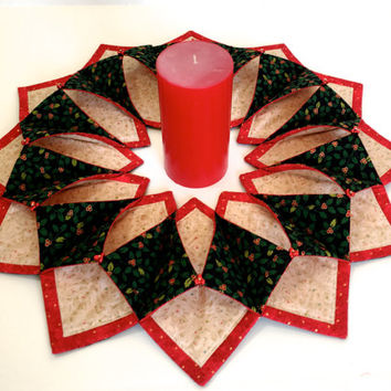 Christmas themed centerpiece, Fold and stitch wreath, Holiday wall hanging, Red Green door wreath, Fabric Art Center Piece, Candle Mat Art