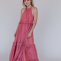 Tiered Together Maxi Dress - Rosewood