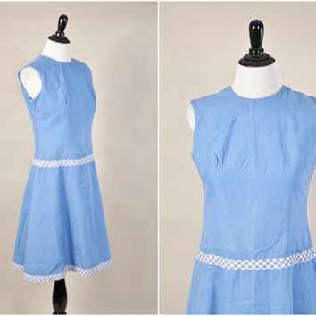 chambray blue drop waist gingham trim scooter girl dolly mod mini dress vintage 1960s