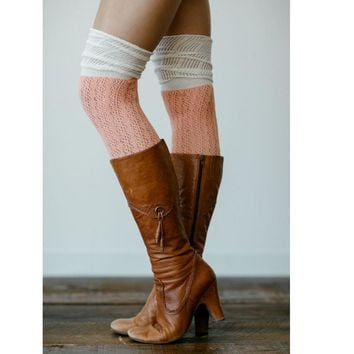 Hollow out mesh over-the-knee double-color fold agaric edge boot leg warmers cotton socks Pink