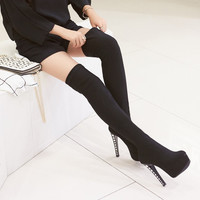 Winter Faux Suede Rhinestone Platform Heels Thigh High Boots 8689