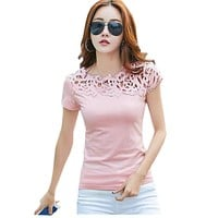 T shirts Black White Women Lace Cotton Patchwork Basic T-shirts Casual Tops Short Sleeve Tee Shirt Femme