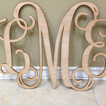 Wood Letters, Wooden Monogram, Wall Art, Vine Monogram, Script Monogram ,Wedding