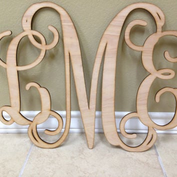 Incroyable Wood Letters, Wooden Monogram, Wall Art, Vine Monogram, Script Monogram ,Wedding