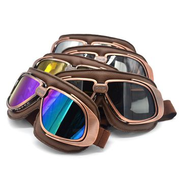 Leather Motorcycle Goggles Retro Flying Scooter Aviator Helmet Glasses Outdoor Sports Eyewea Vintage Motorbike Glasses