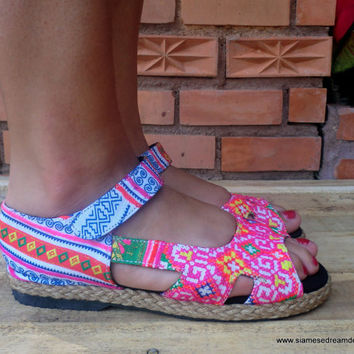 Espadrille In Pink Hmong Embroidery & Batik Open Toe Mary Jane  Flat Vegan Shoe
