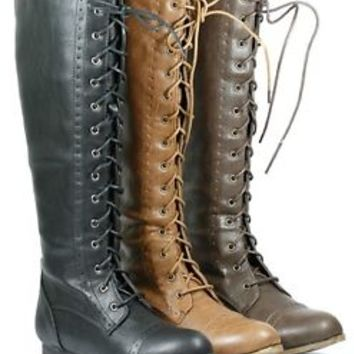 Lace Up Knee High Tall Military Combat from metronomestudios on