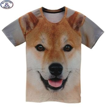 Mr.1991 12-20 years teens t-shirt for boys or girls 3D big yellow dog printed short sleeve round collar summer t shirt  A26