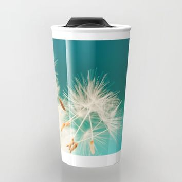 delicate dandelion in turquoise Travel Mug by Anabprego