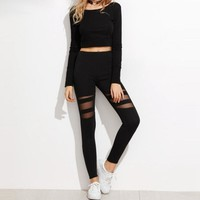 Sexy Mesh High-Waist Leggings