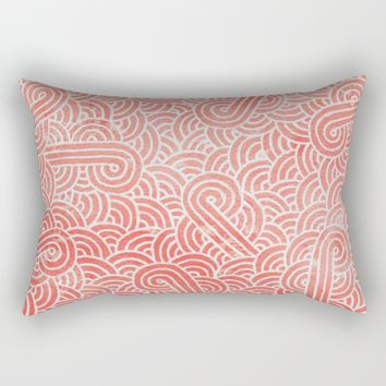 Peach echo and white zentangles Rectangular Pillow by Savousepate