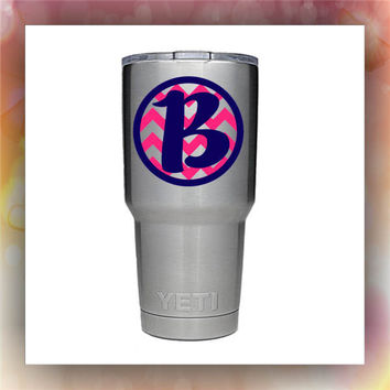 Circle Chevron with Initial stainless steel tumbler, glitter tumbler, painted tumbler,