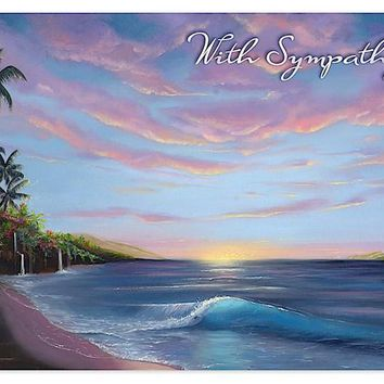 """Island Sunset with Sympathy"" Greeting Card"