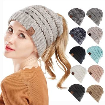 Fashion Messy Bun Ponytail CC Solid Skullies Beanies Hats & Caps Women Girl Winter Stretch Knitted Wool Cap Warm Top Hole Hat