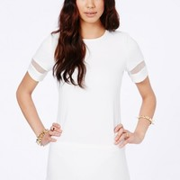 Missguided - Soledad Mesh Panel Shift Dress In White
