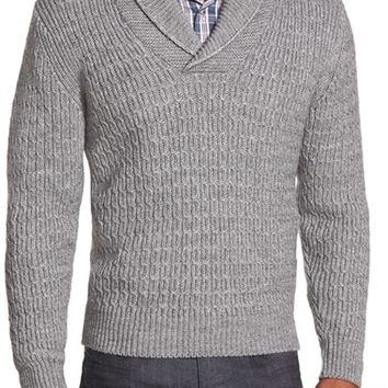 Men's Peter Millar Shawl Collar Cable Knit Sweater,