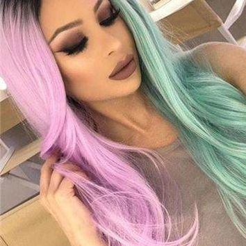 Pink Green Double Colors Straight Synthetic Lace Front Wig