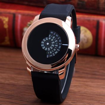 New Simple Turntable Design Quartz Wristwatch 4 Fashion Colors Case Rose Gold Men Women Watches Black Rubber Band Best Gifts