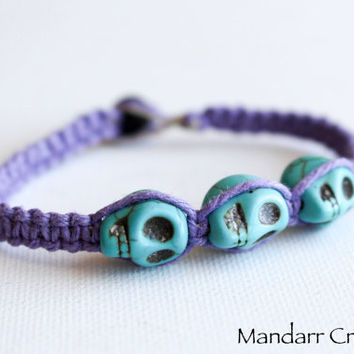 CLEARANCE SALE - Lavender Hemp Bracelet, Three Teal Sugar Skulls, Day of the Dead, Hand Knotted Halloween Accessory, Ready to Ship