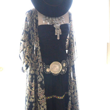 Vintage gauze dress, Mexicali Mexican festival dress, Bohemian gypsy cowgirl glam dresses, Black Coachella dress Hippie, True rebel clothing