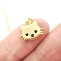 Tiny Kitty Cat Shaped Animal Charm Necklace in Gold | Animal Jewelry