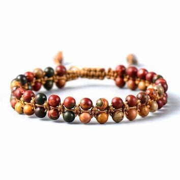 Handmade Beaded Bracelet with Red Picasso Jasper Colorful Beads - Adjustable