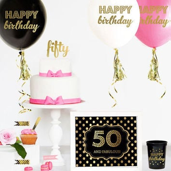 50th Birthday Cake Topper - 50 Cake Topper  - 50th Birthday Party Ideas -  50th Birthday Decorations - Fifty CAKE TOPPER - 50th Card - Gift
