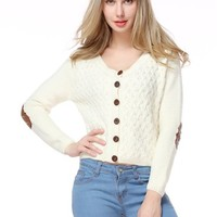 TopStyliShop Women's Buttons Front Round Neck Cardigan with Round Elbow Patches