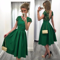 MGS New Arrival Charming Green Short Sleeve Cocktail Dress 2016 A Line Appliques Beading Dresses Vestido Party Gown