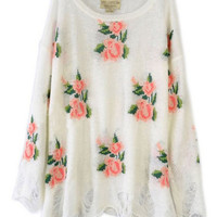 Floral Printed White Irregular Sweater [NCSWX0021] - $107.99 :