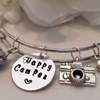 Camping Gift - Happy Camper Bracelet - Expandable Bangle - Charm Bracelet -