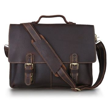 MEKU Men's Leather Messenger Bag Dark Brown