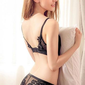 Dainty Floral Back Detail Bralette Brief Panty Set - Black