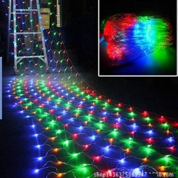 2pcs EU/US/UK/AU Plug Multicolor LED Luces Navidad Net Light-Christmas Light Fairy Wedding Light Christmas Decorations for Home