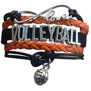 Girls Volleyball Infinity Bracelet - Orange