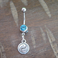 Belly Button Ring - Body Jewelry - Ying Yang with Light Blue Gem Stone Belly Button Ring