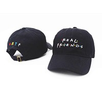 Brand Embroidery Real Friends Tv Show Baseball Cap Hip Hop Women Men Adjustable Denim Black Dad Hat Bone Gorras Trucker Black Friend Hat