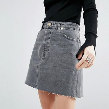 ASOS Denim High Rise Pelmet Skirt in Ruthless Grey Wash with Raw Hem at asos.com