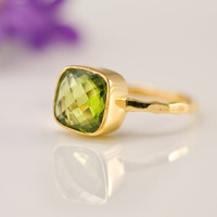 Cushion Cut Peridot Ring - Bezel Ring  - Gemstone Ring- Gold Ring - August Birthstone Ring - Mother's Day Gift
