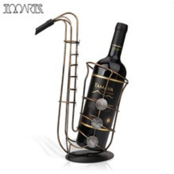 saxophone shaped metal wine holder hand-molded by the craftsman.